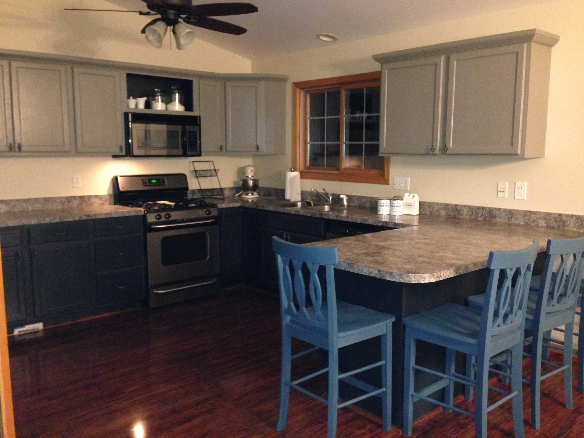 Kitchen cabinets painted with chalk paint one year later for What finish paint for kitchen cabinets
